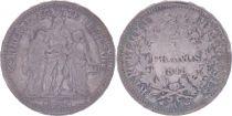 France 5 Francs Hercules - Second Republic - 1848 A Paris - VF+