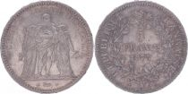 France 5 Francs Hercules - Third Republic - 1873 A Paris - VF+