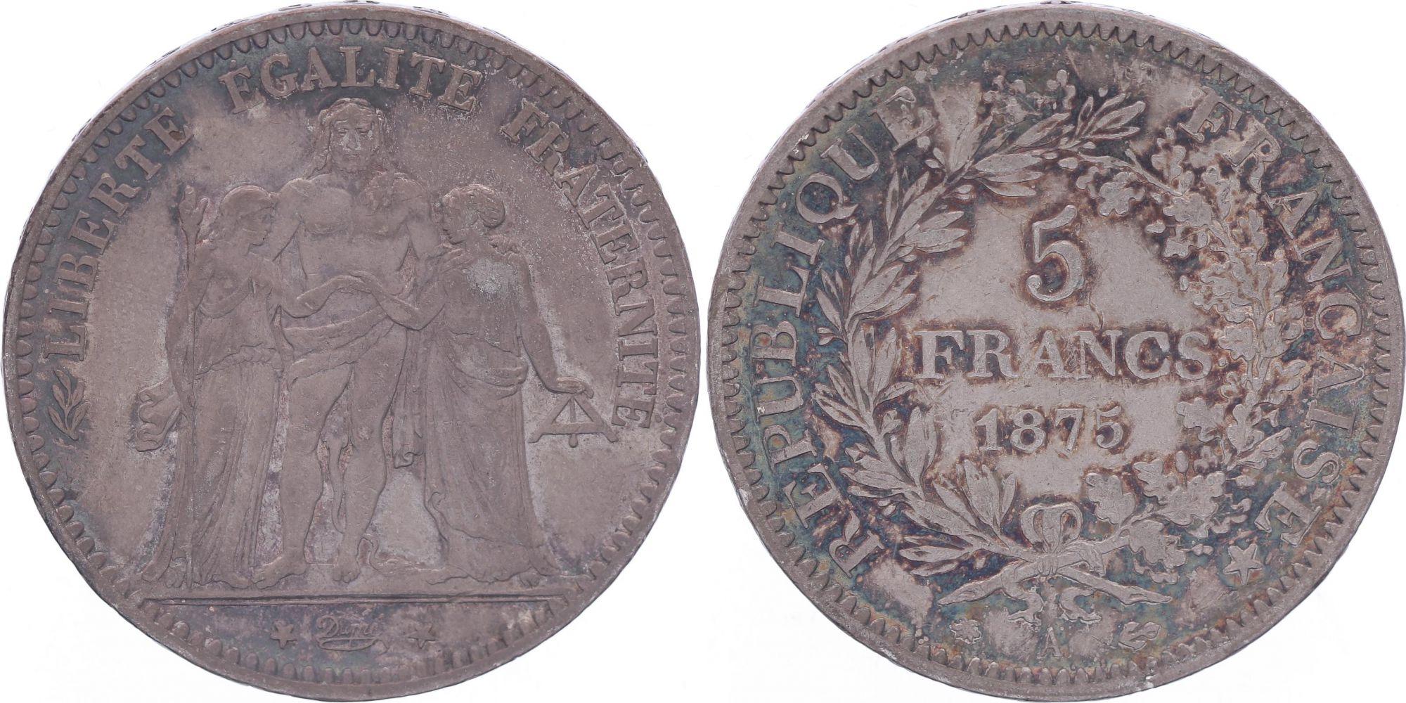France 5 Francs Hercules - Third Republic - 1875 A Paris - F+