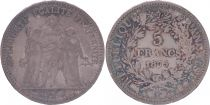 France 5 Francs Hercules - Third Republic - 1875 A Paris - F+
