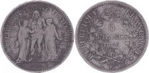 France 5 Francs Hercules - Third Republic - 1876 K Bordeaux - Fine