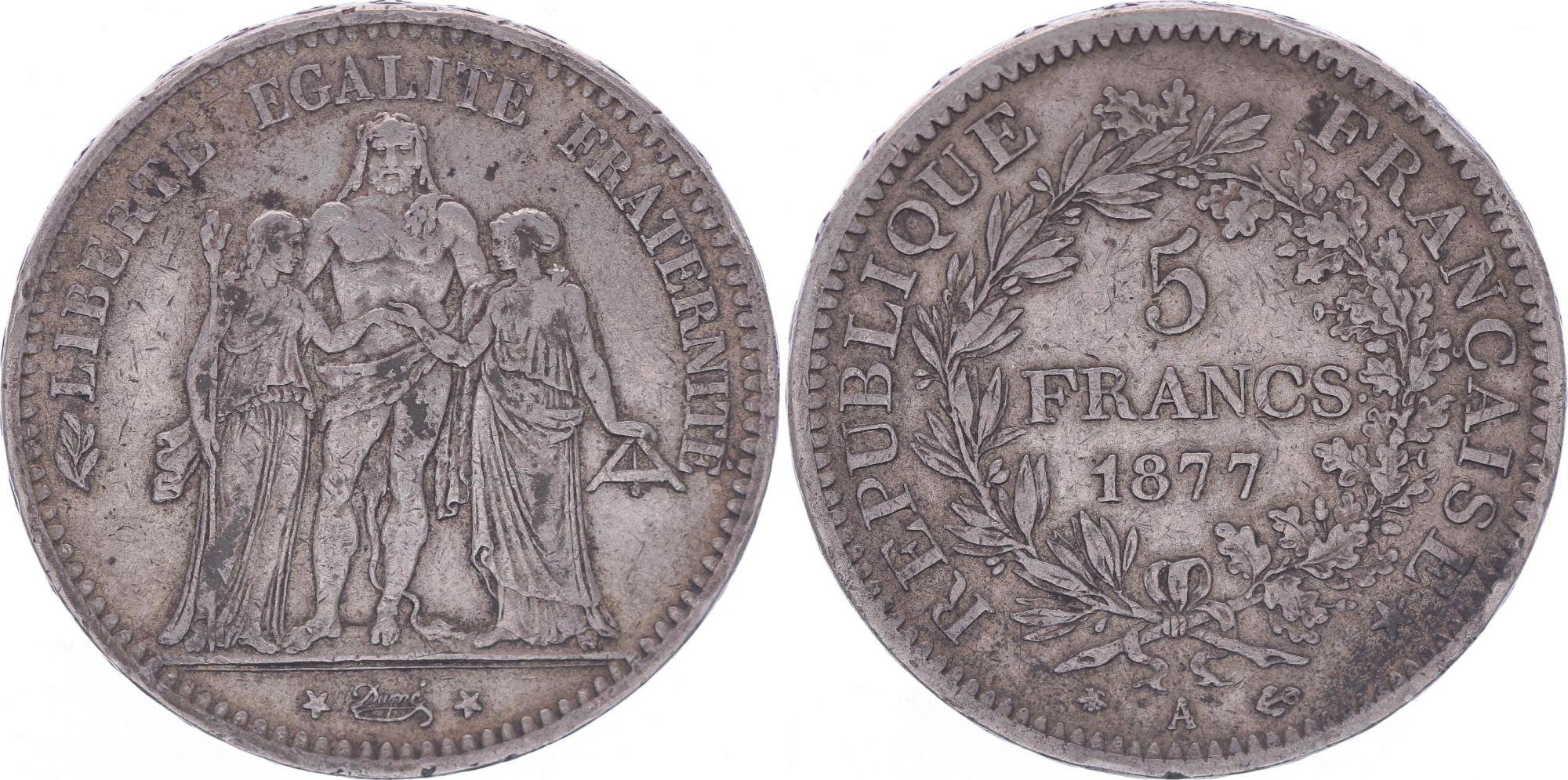 France 5 Francs Hercules - Third Republic - 1877 A Paris - F+