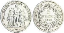 France 5 Francs Hercules IInd Republic - 1848 D Lyon - Silver