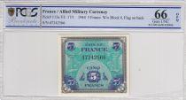 France 5 Francs Impr. américaine (drapeau) - 1944 - PCGS 66 OPQ