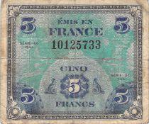 France 5 Francs Impr. américaine (drapeau) - 1944 Sans Série - TB