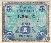 France 5 Francs Impr. américaine (drapeau) - 1944 Série 2 - TTB