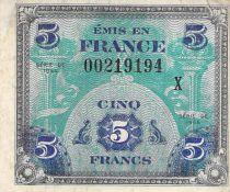 France 5 Francs Impr. américaine (drapeau) - 1944 Série X - TB