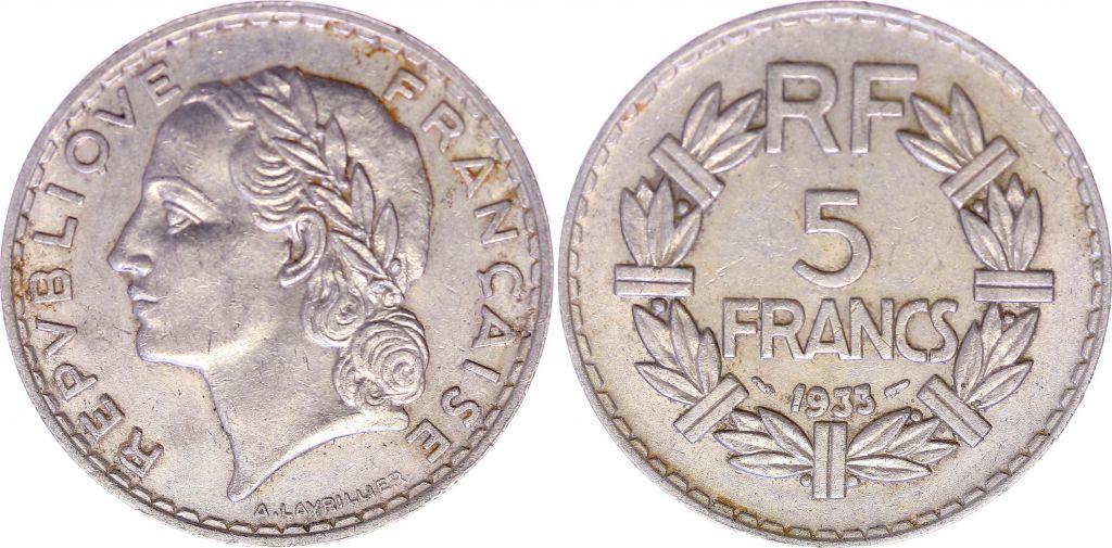 France 5 Francs Lavrillier - 1933