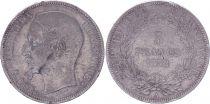France 5 Francs Louis-Napoléon Bonaparte - Tête étroite - 1852 A - TB