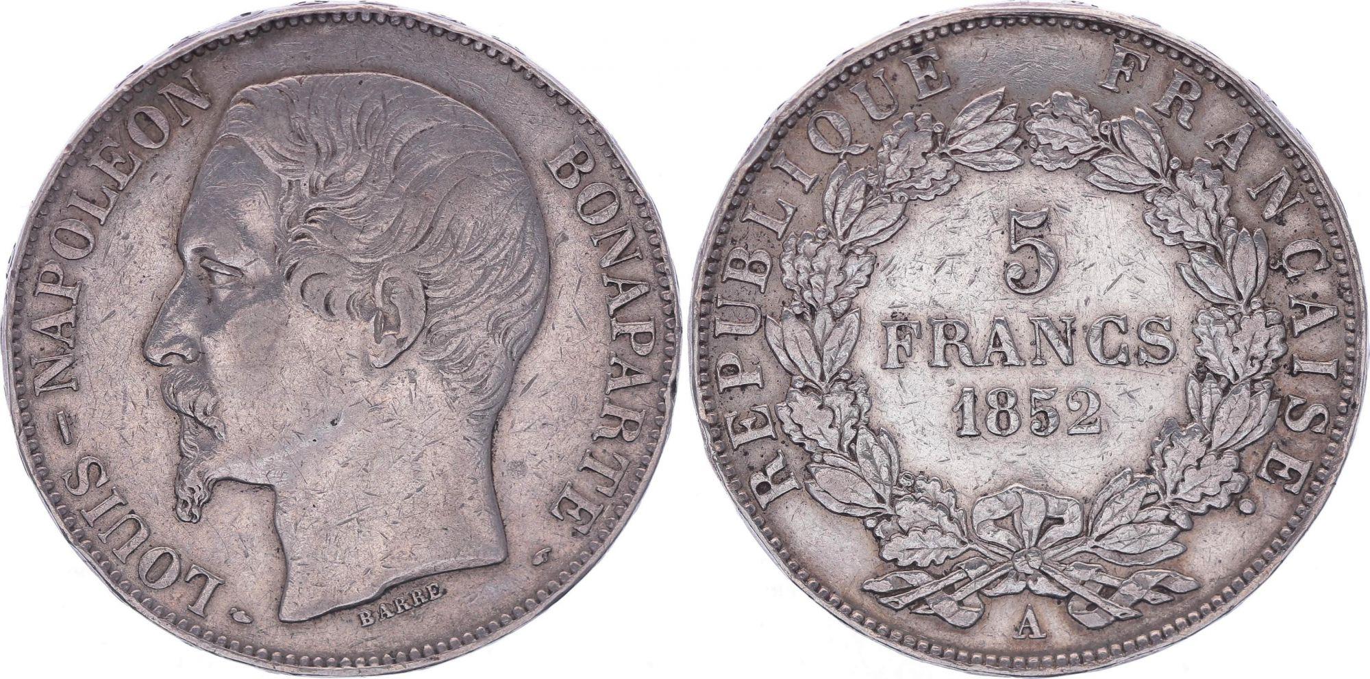 France 5 Francs Louis-Napoléon Bonaparte - Tête Large - 1852 A - TB+