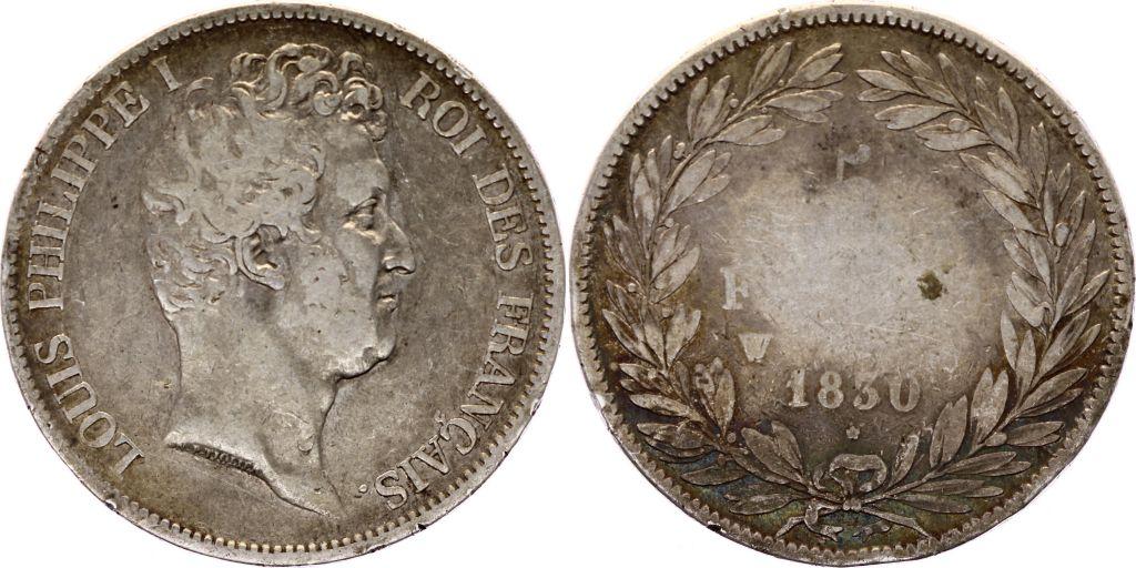 France 5 Francs Louis-Philippe 1830 W Lille Argent