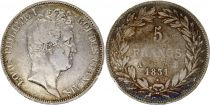 France 5 Francs Louis-Philippe 1831 A Paris  Argent - en relief