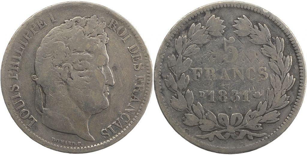 France 5 Francs Louis-Philippe 1er - 1831 D Lyon