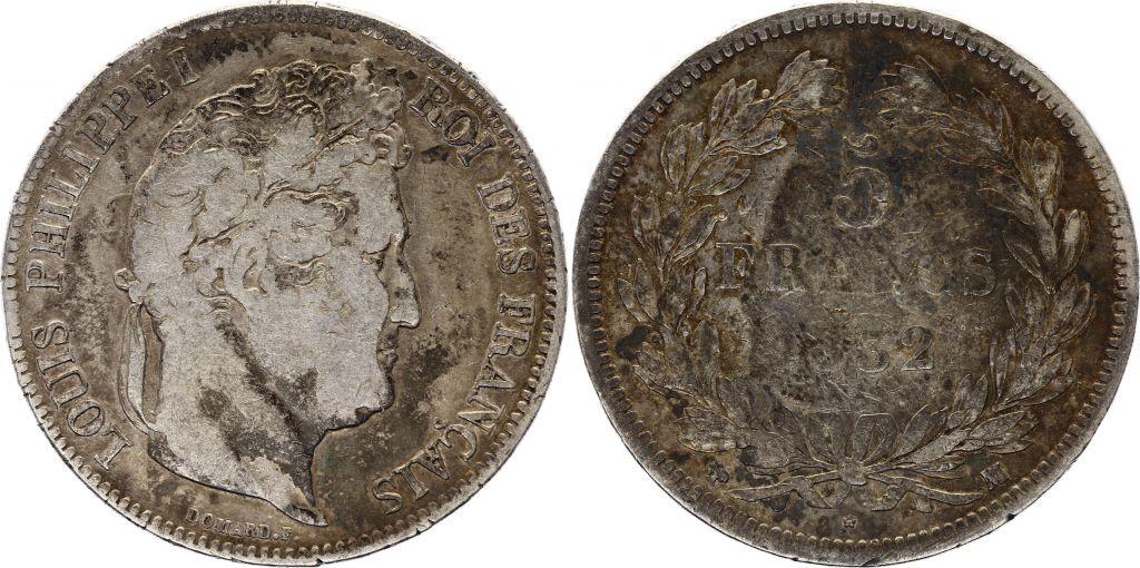 France 5 Francs Louis-Philippe 1er - 1832 MA Marseille - Argent