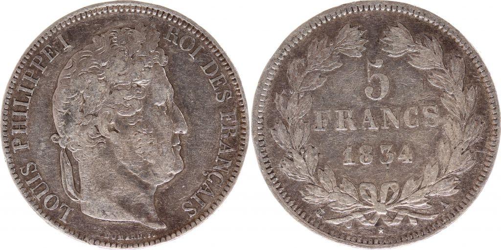 France 5 Francs Louis-Philippe 1er - 1834 A Paris