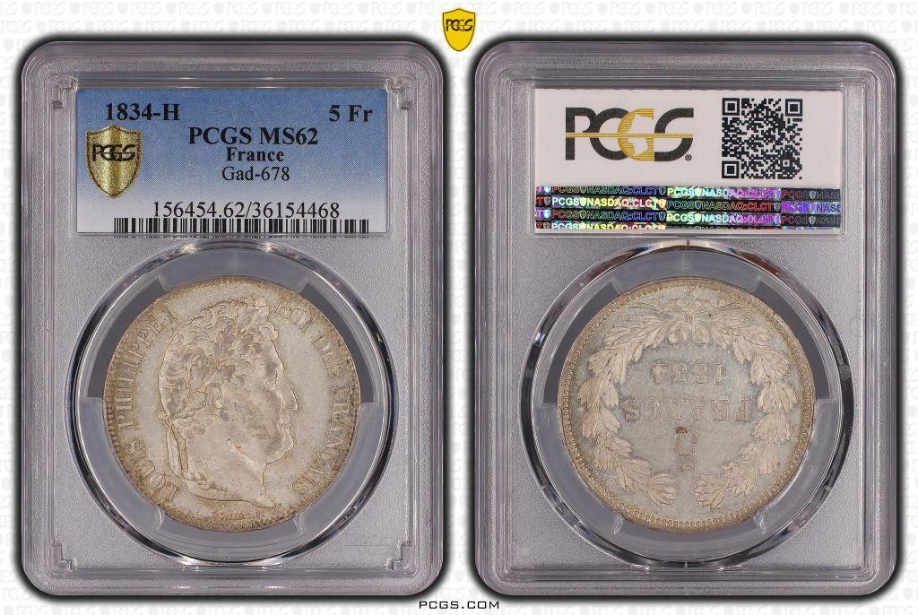France 5 Francs Louis-Philippe 1er - 1834 H La Rochelle - PCGS MS 62