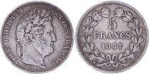 France 5 Francs Louis-Philippe 1er - 1837 BB Strasbourg - TTB