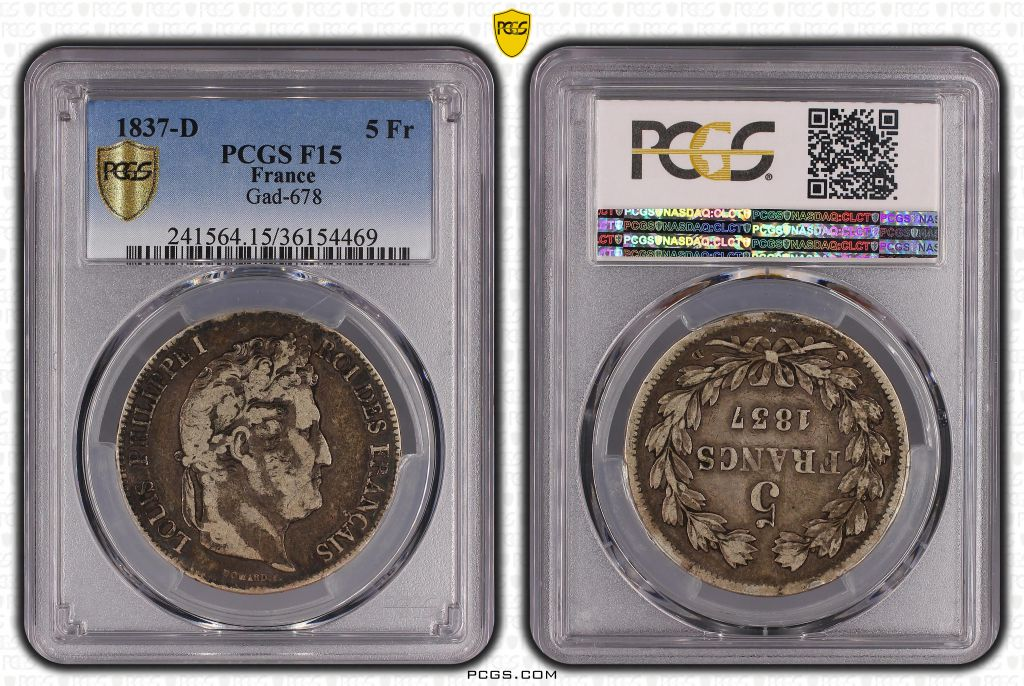 France 5 Francs Louis-Philippe 1er - 1837 D Lyon - PCGS F 15