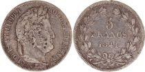 France 5 Francs Louis-Philippe 1er - 1841 W Lille