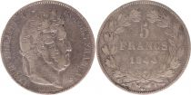France 5 Francs Louis-Philippe 1er - 1844 W Lille