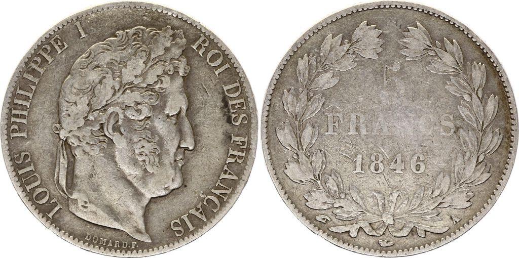 France 5 Francs Louis-Philippe I - 1846 A Paris Argent