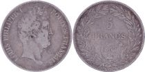 France 5 Francs Louis-Philippe Ier - 1831 B Rouen tranche en creux - TB