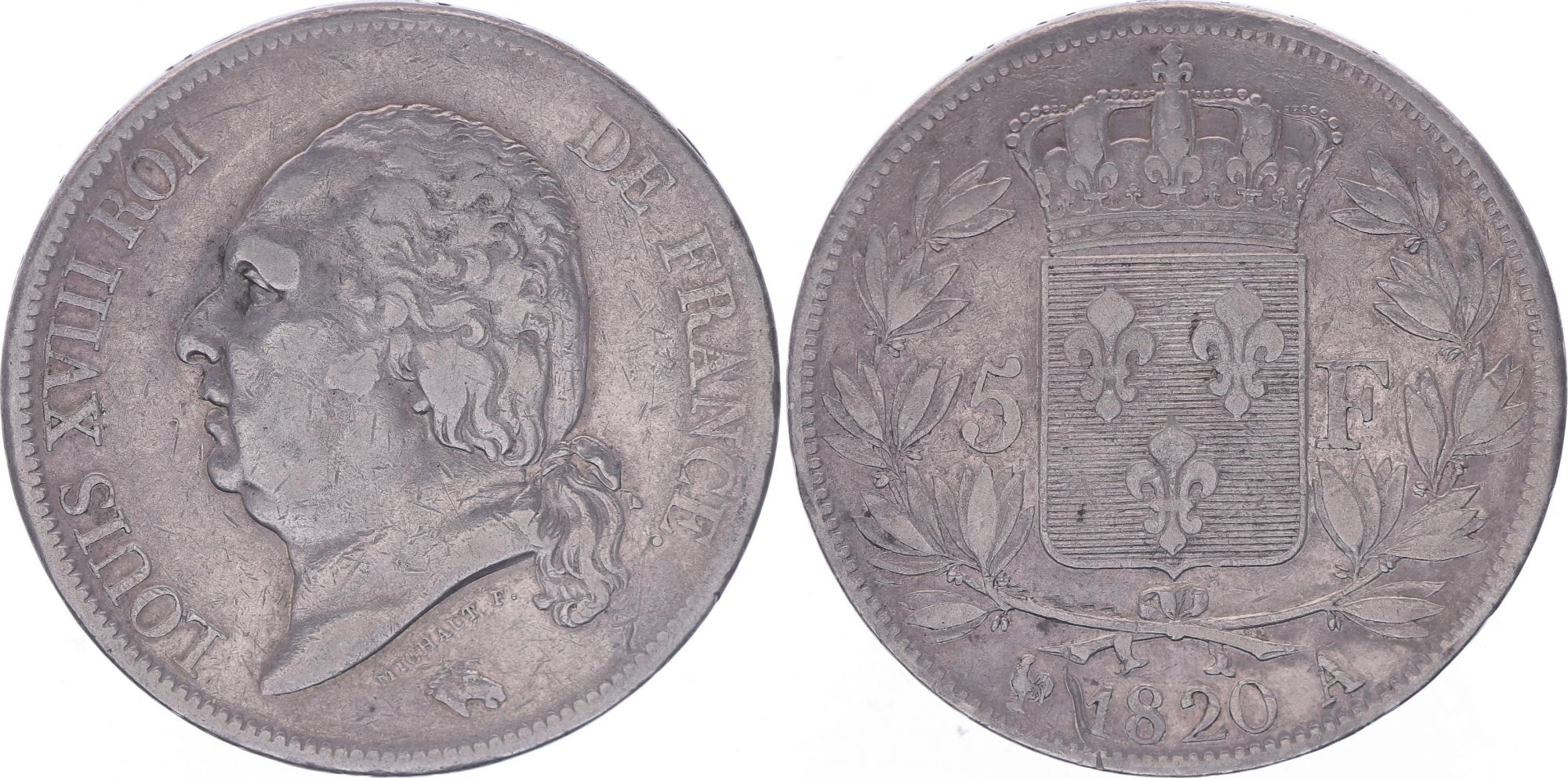 France 5 Francs Louis XVIII - Buste nu - 1820 A Paris - TB+