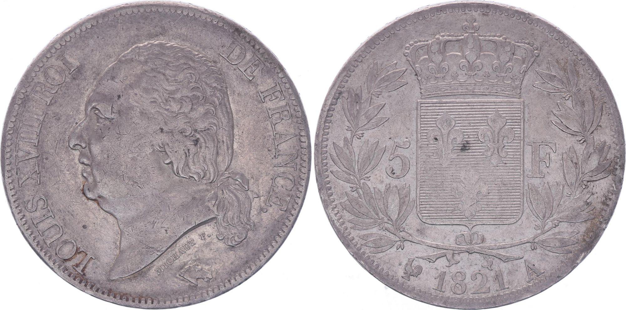 France 5 Francs Louis XVIII - Buste nu - 1821 A Paris - TB+