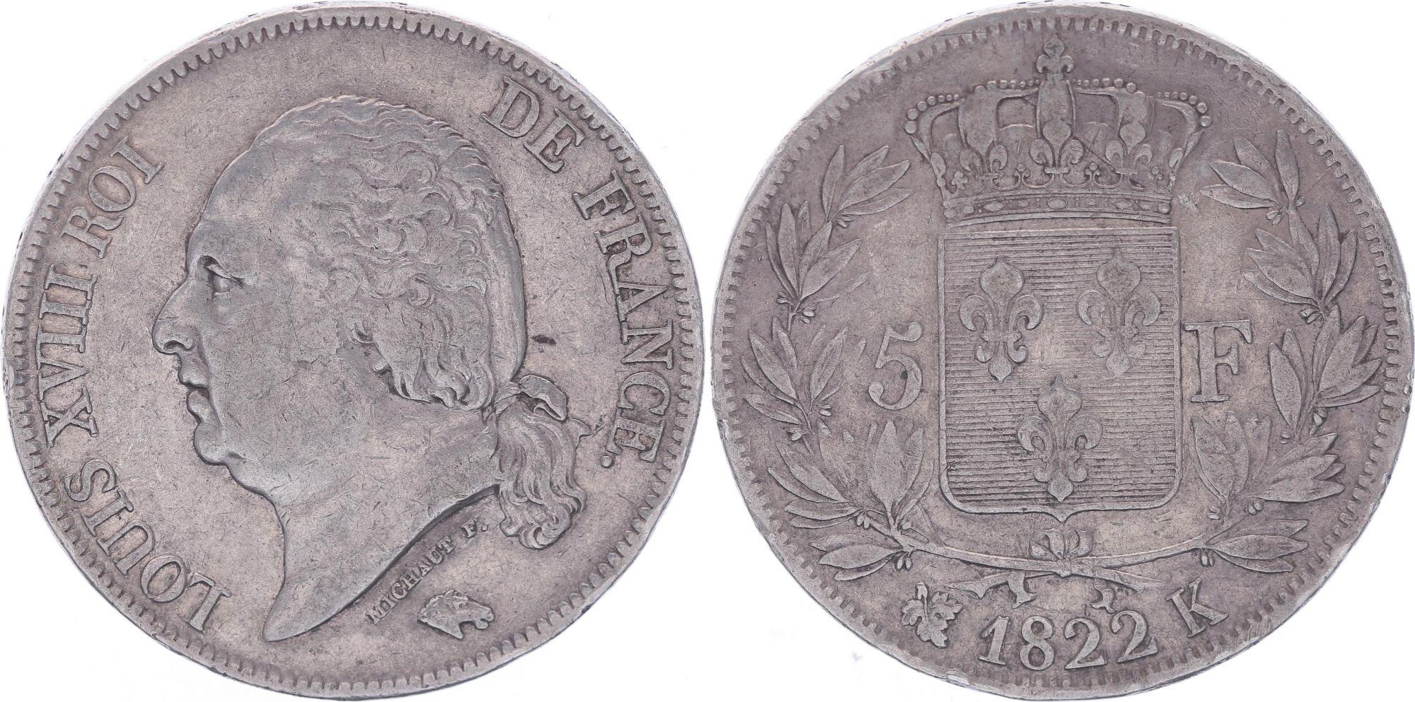 France 5 Francs Louis XVIII - Buste nu - 1822 K Bordeaux - TB+