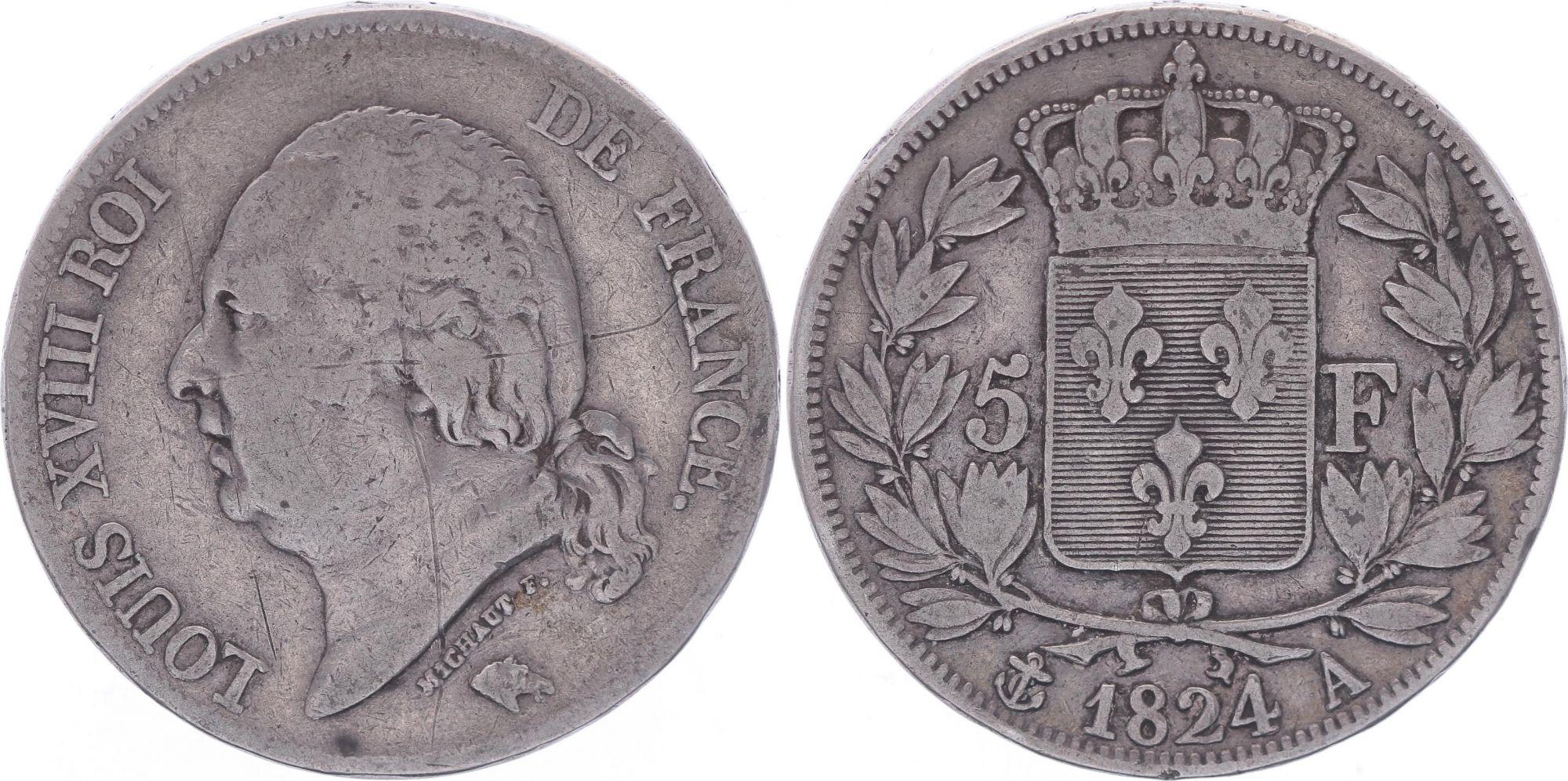 France 5 Francs Louis XVIII - Buste nu - 1824 A Paris - TB