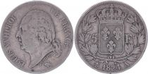 France 5 Francs Louis XVIII - Buste nu - 1824 A Paris - TB