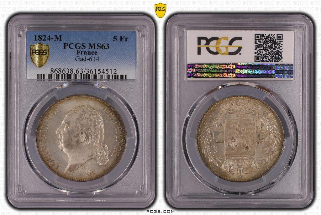France 5 Francs Louis XVIII Buste nu - 1824 M - PCGS MS 63
