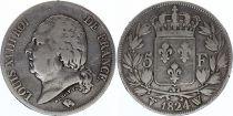 France 5 Francs Louis XVIII Buste nu - 1824 W Lille - Argent