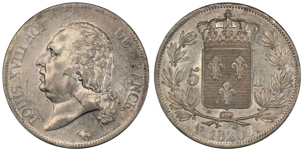 France 5 Francs Louis XVIII King of France - 1820 A - PCGS AU 55