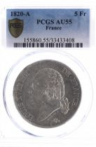 France 5 Francs Louis XVIII Roi de France - 1820 A - PCGS AU 55