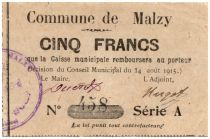France 5 Francs Malzy City - 1915