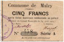 France 5 Francs Malzy Commune - 1915