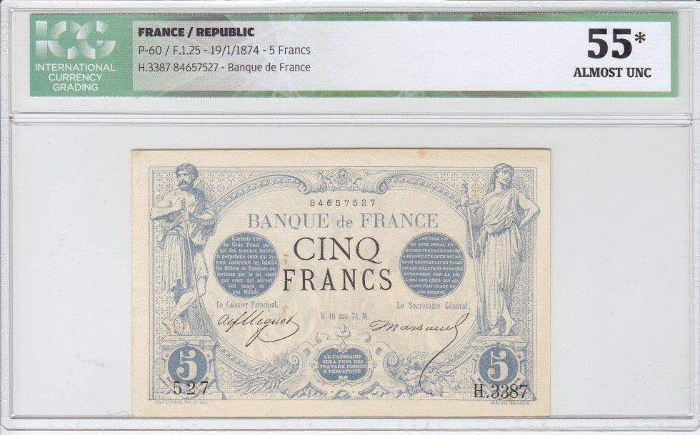 France 5 Francs Man and woman standing staff - 1874