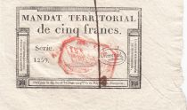 France 5 Francs Mandat Territorial - 28 Ventose An IV (18.3.1796) - Cachet Rouge - SUP +