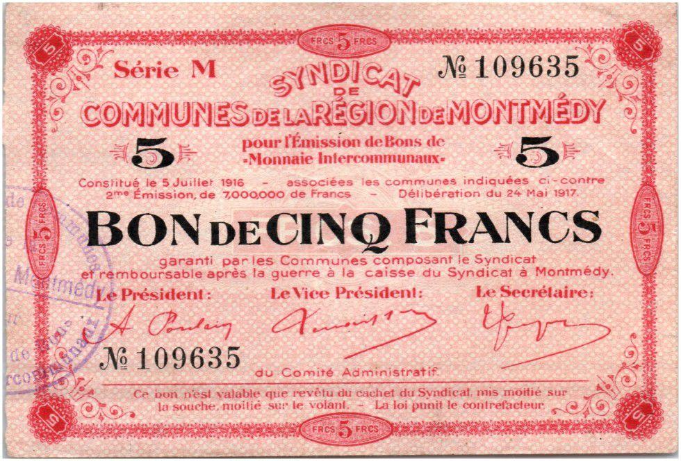 France 5 Francs Montmédy S. des communes