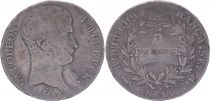 France 5 Francs Napoleon Emperor - Year 13 Toulouse  - Silver - Fine