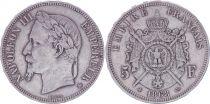 France 5 Francs Napoléon III - Tête laurée - 1868 BB Strasbourg - TB+
