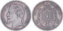 France 5 Francs Napoléon III - Tête laurée - 1870 A Paris - TB+