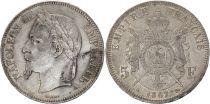 France 5 Francs Napoléon III - Tête laurée 1867 A Paris