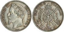 France 5 Francs Napoléon III - Tête laurée 1870 A Paris - Argent