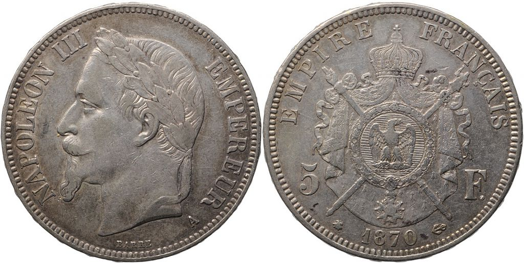 France 5 Francs Napoléon III - Tête laurée 1870 A Paris