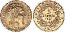 France 5 Francs Napoléon III - Tête nue - 1854 A Tranche cannelée - Petit Module Or