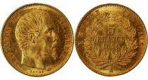 France 5 Francs Napoléon III - Tête nue - 1854 A Tranche Lisse - Petit Module Or