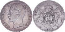 France 5 Francs Napoléon III - Tête nue - 1856 A Paris - Argent - TB