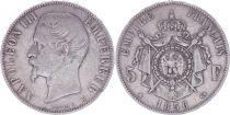 France 5 Francs Napoléon III - Tête nue - 1856 BB - Argent - TB - 2e ex.